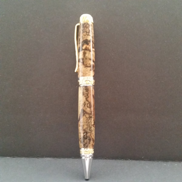 Double Twist Ballpoint Pen, Spalted Pecan body