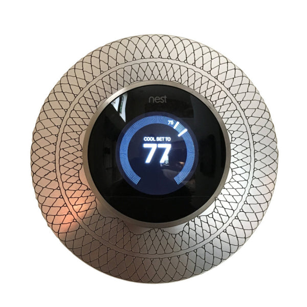 "Nest Thermostat 6"" silver wall plate with fishnet style engraving"