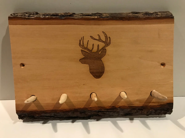 Unique handcrafted Keychain holder with antlers for hook.