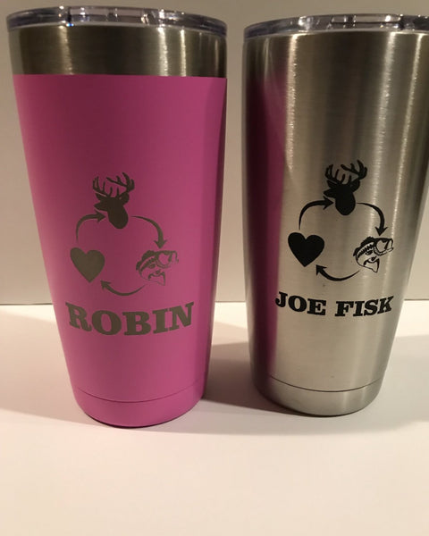 20 oz Vacuum insulated Tumbler personalized with laser engraving