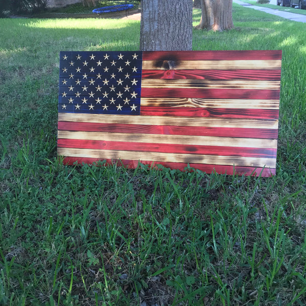 "Large Rustic US Flag 37x19.5"".  Carved Stars."