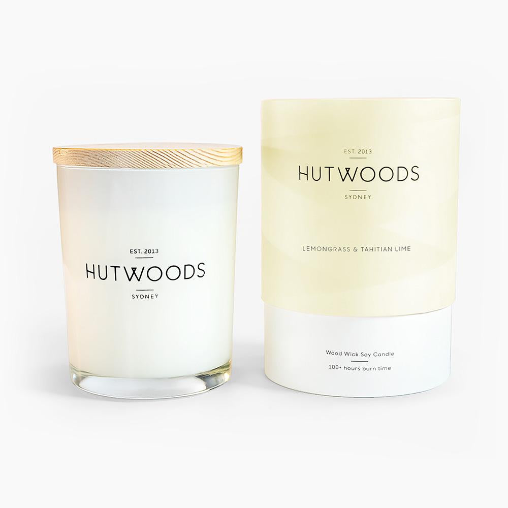 Large Woodwick Candle in Lemongrass & Tahitian Lime