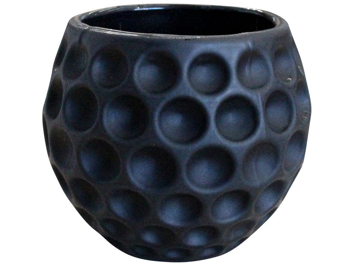 Bubble Glass Votive in Matte Black