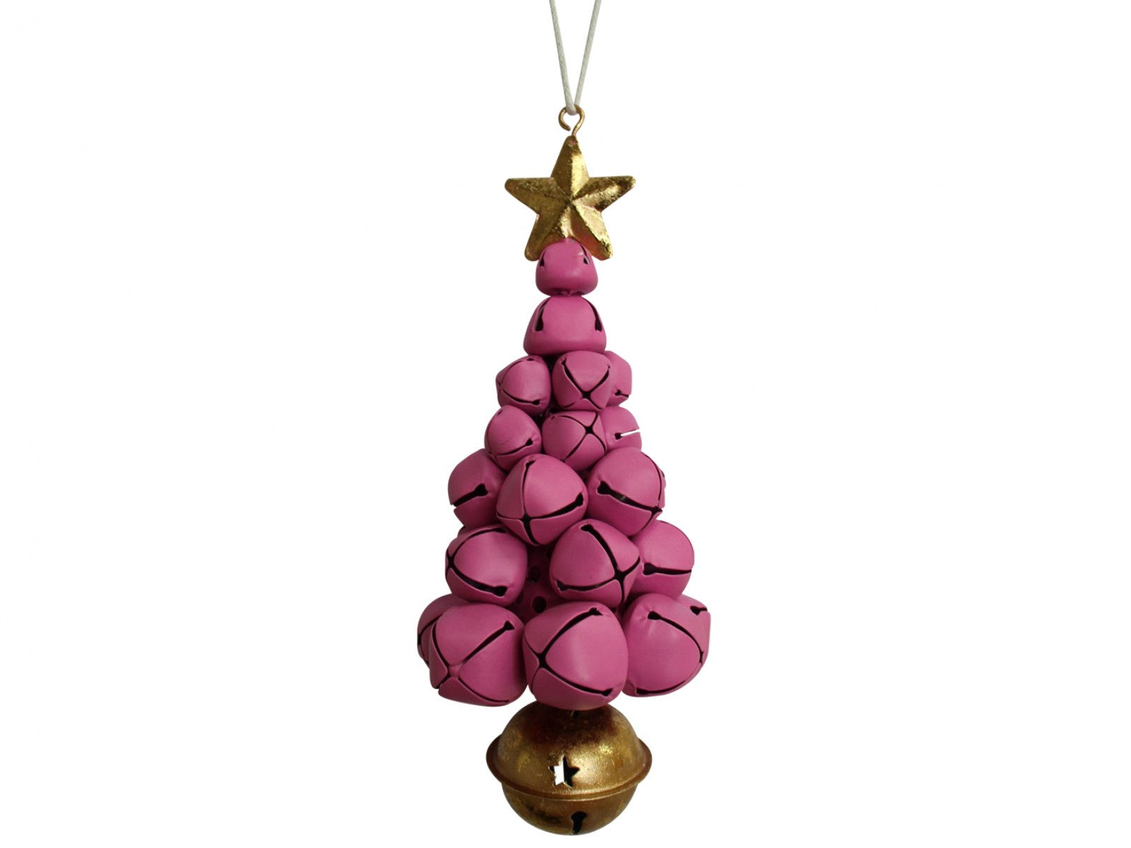 Hanging Bells Xmas Tree - Fuschia & Gold
