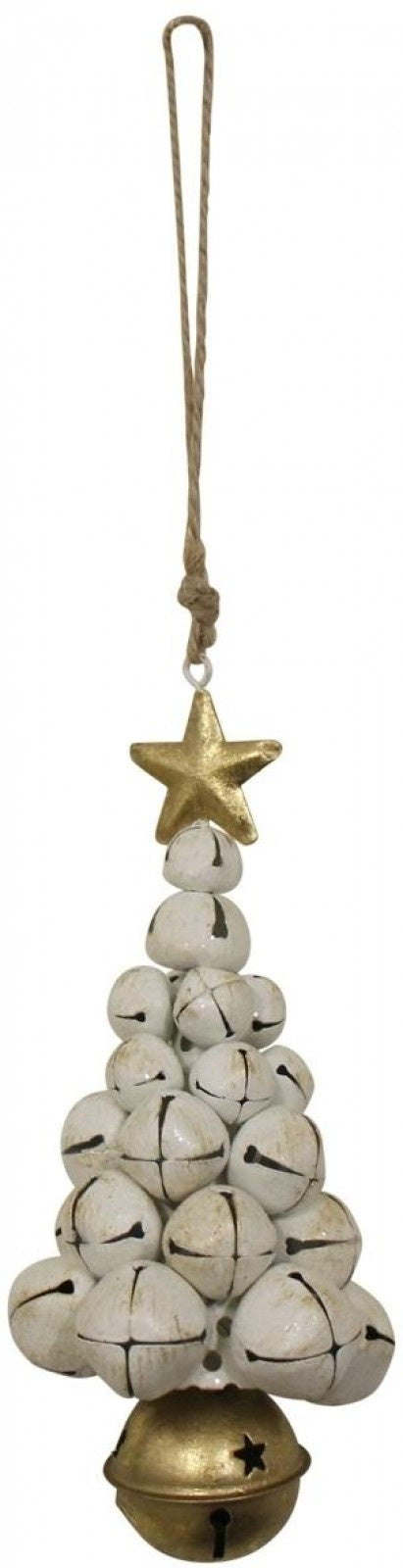 Hanging Bells Xmas Tree - White & Gold