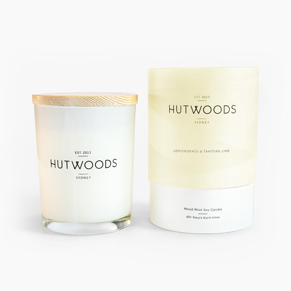 NEXT CHAPTER HOME HORNSBY | *NEW* HUTWOODS MEDIUM WOODWICK CANDLE - LEMONGRASS & TAHITIAN LIME