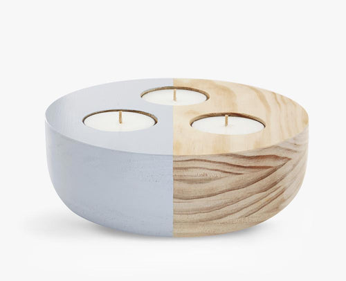 Hutwoods Large Wooden Maxi Tea Light Holder in Grey