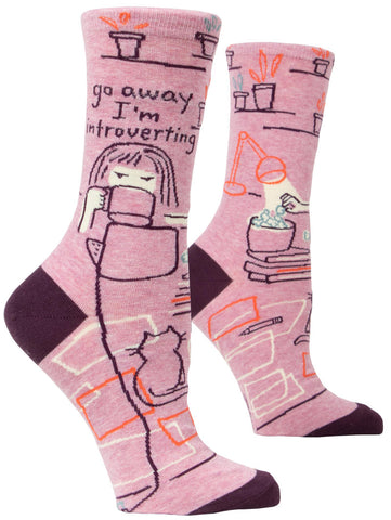 "BlueQ Women's Socks - ""Go Away I'm Introverting"""