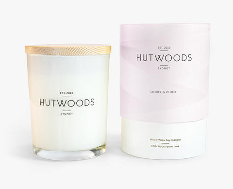 Large Wood Wick Candle in Lychee & Peony