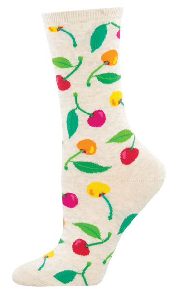 Womens Socks - Cherries on Ivory
