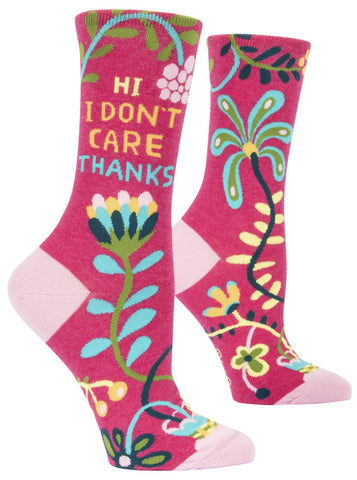 "Women's Socks - ""Hi, I don't care. Thanks"""