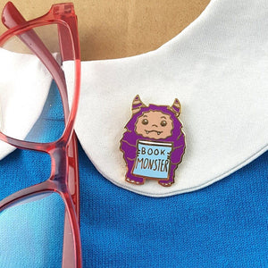 NEXT CHAPTER HOME DURAL + ONLINE | LITTLE BOOK MONSTER LAPEL PIN BY JUBLY-UMPH