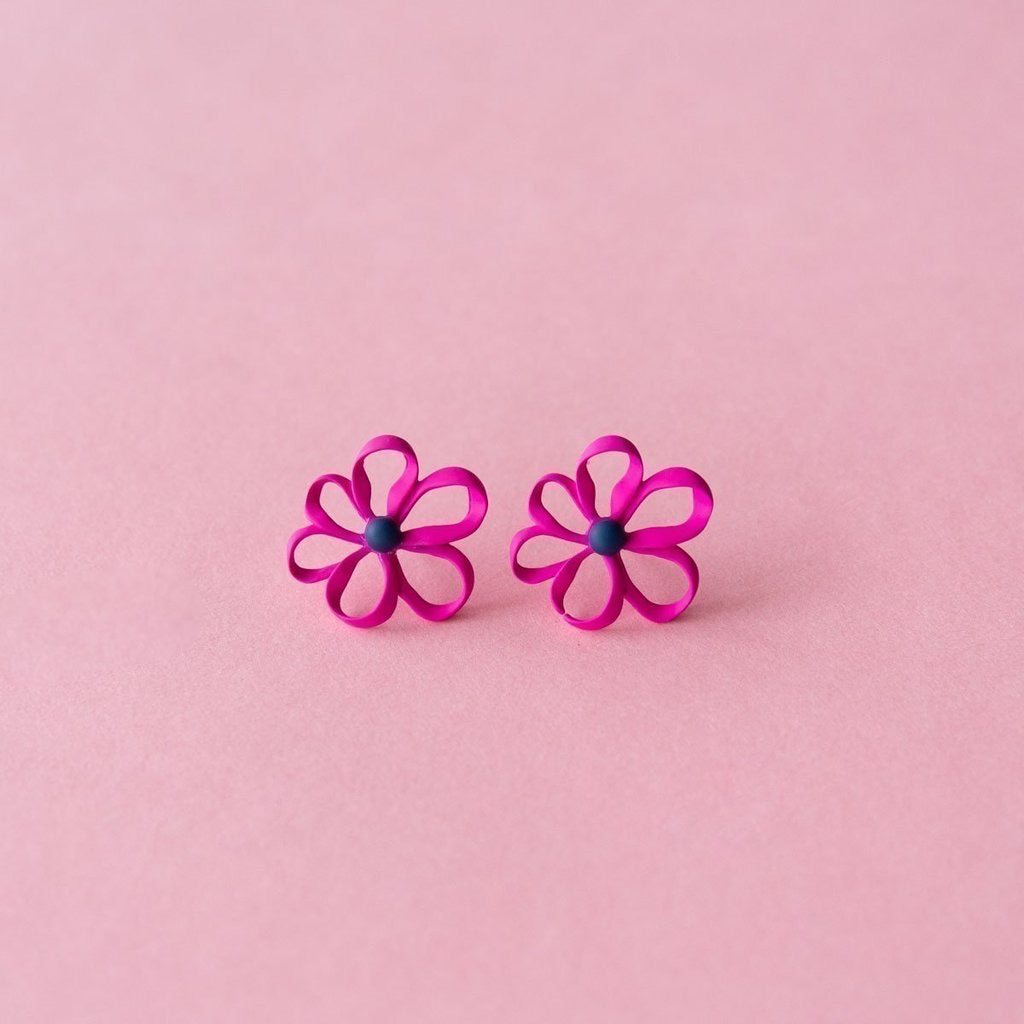 Ruby Olive Bloom Ribbon Earrings in Pink