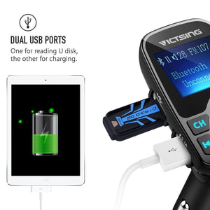 VicTsing Bluetooth FM Transmitter Radio Car Kit Adapter - VicTsing
