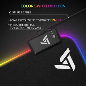 VictSing [30% Larger] RGB Gaming Mouse Pad 12 Lighting Modes 31.5×15.75×0.2 Inch