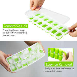 VicTsing Ice Cube Trays 4 Packs, Easy-Release Silicone and Flexible 14-Ice Trays with Spill-Resistant Removable Lid, LFGB Certified & BPA Free, Stackable Durable and Dishwasher Safe (Green)