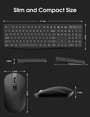 VictSing Wireless Keyboard and Mouse Combo Black