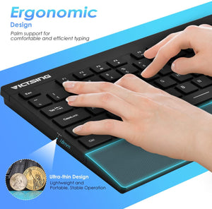 VictSing Full Size Wireless Keyboard and Mouse Combo