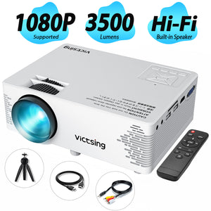 VicTsing Mini Projector, 1080P Supported, 3500 Lux