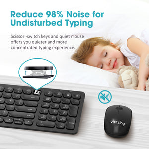VictSing Wireless Mouse and Keyboard Combo Compact