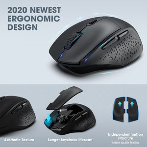 VictSing Wireless Rechargeable Big Size Ergonomic Mouse