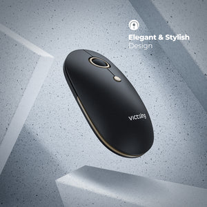 VicTsing 2.4G Slim Wireless Mouse, leiser Maus, tragbare kabellose Mini Computermaus mit 5 stufiger Einstellbarer DPI für PC-Laptop Mac MacBook,Schwarz Gold