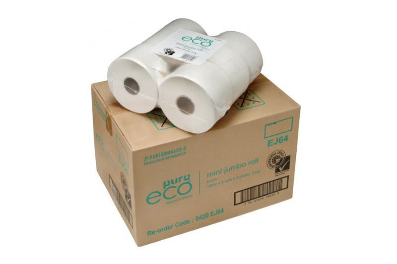 Pure Eco Mini Jumbo Toilet Rolls 2ply