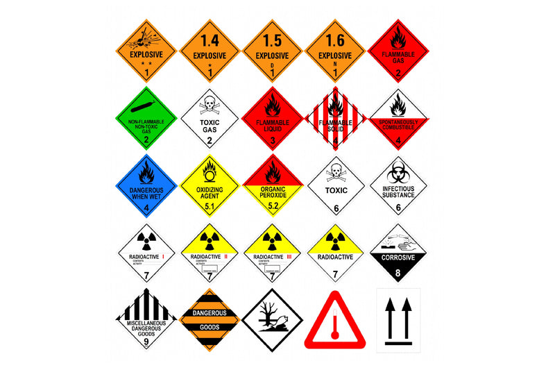 "Dangerous Goods Shipping Labels ""Perforated"""