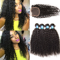 Donmily Curly Virgin Hair Weave 3 Bundles With Lace Closure 4x4 Unprocessed Human Hair Extensions