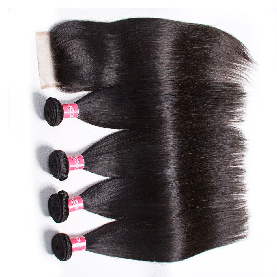 4 Bundles Malaysian Straight Hair with 4*4 Lace Closure-Donmily Hair