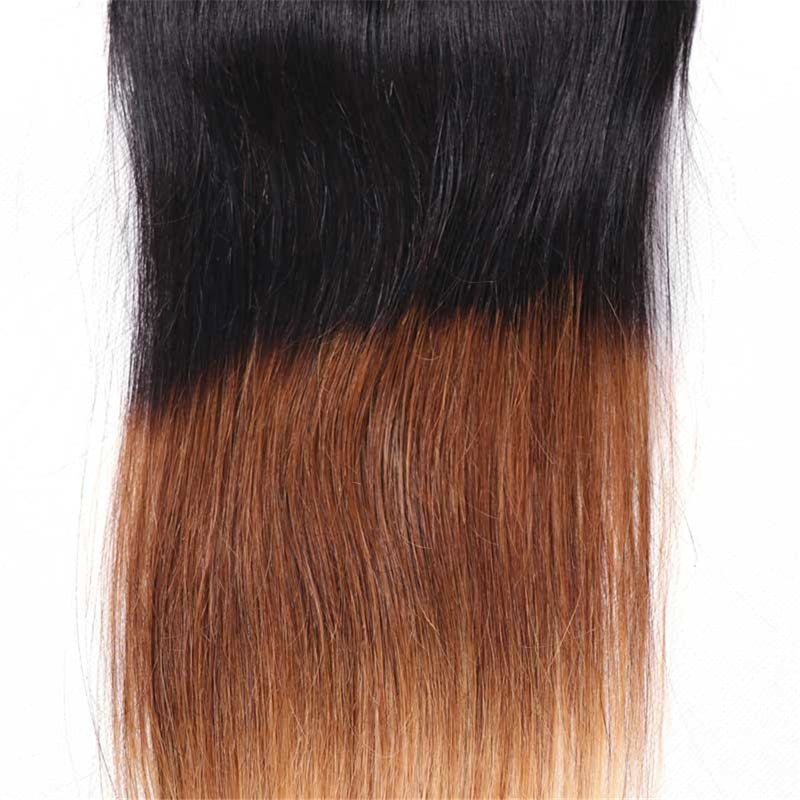 1PC T1B/4/27 Ombre Color Lace Closure Free Part T1B/4/27 100% Straight Human Hair-Donmily