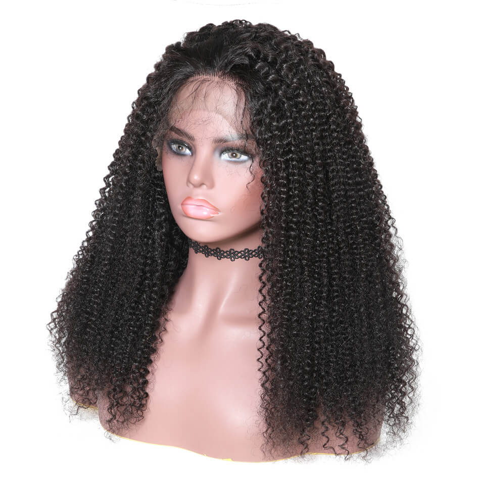 150% Density Kinky Curl 13*6 Lace Front Human Hair Wigs With Baby Hair 10''-24'' Black Color-Donmily