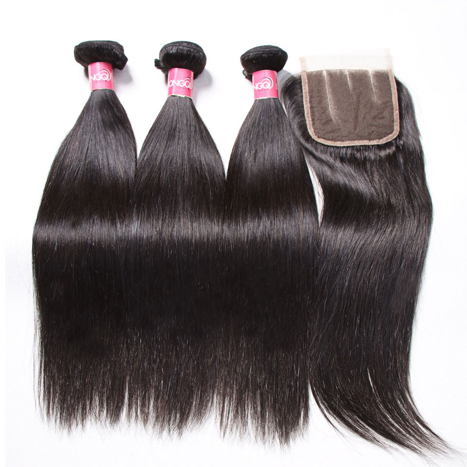 3 Bundles Peruvian Straight Hair with 4*4 Lace Closure-Donmily Hair