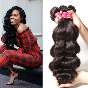 Donmily Malaysian Body Wave 3 Bundles, 100% Unprocessed Virgin Human Hair Weave, No Shedding and Tangle Free