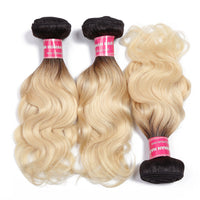 Donmily Hair 3pcs/lot Brazilian Body Wave T1B/613 Blonde Bundles Remy Hair Honey Blonde Human Hair Weaving 10-20 Inch