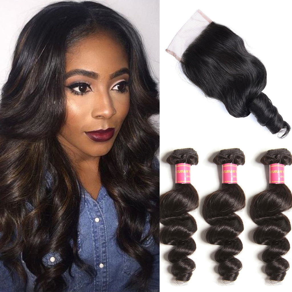 3 Bundles Virgin Indian Loose Wave with Lace Closure Deals-Donmily Hair
