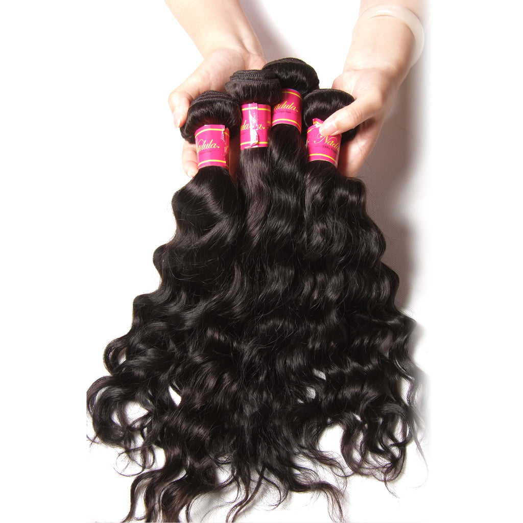 Malaysian Natural Wave 4 Bundles , 9A Grade Virgin Human Hair Weave, No Shedding and Tangle Free
