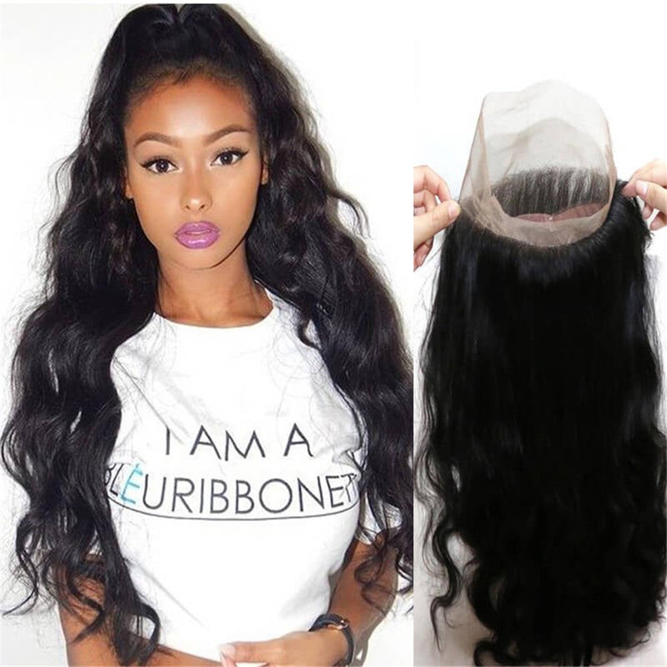 Donmily Body Wave 1 Piece 360 Frontal Closure Wavy Hair Natural Color 10-20 Inch
