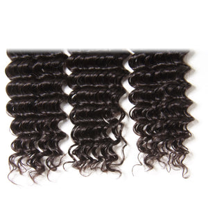 Donmily Peruvian Deep Wave Virgin Human hair weave 3 Bundles, 100% Virgin Peruvian Hair on Sale