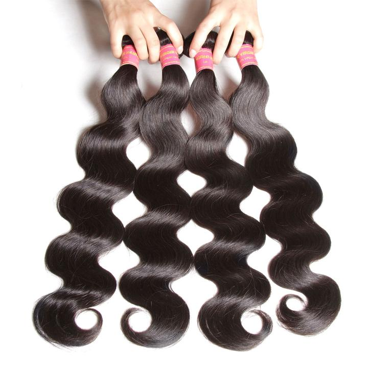 Donmily 4 Bundles Malaysian Body Wave Weave Virgin Human Hair Bundles Deals
