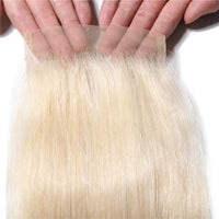 Blond 613 Color 4*4 Lace Closure Free Part Straight Hair Texture 1pc, 613# Straight Hair Lace Closure-Donmily