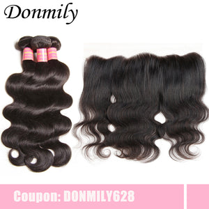 Donmily Virgin Malaysian Body Wave Hair Weave 3 Bundles with Lace Frontal Hair Closure 13*4 Ear to Ear