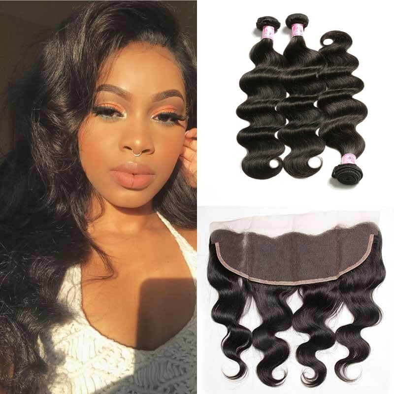 Donmily Virgin Indian Body Wave Hair Weave 3 Bundles with Lace Frontal Hair Closure 13*4 Ear to Ear