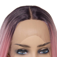 Straight Bob Synthetic Wigs Medium Length Lace Front Color Pink