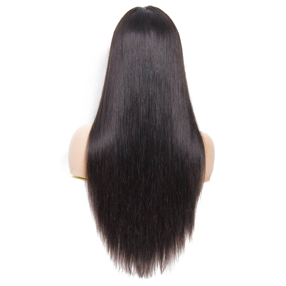 9A Human Hair Silky Straight Lace Front Wigs 130% & 150% Density, 13*4 Lace Frontal, Black Color No Tangle No Shedding