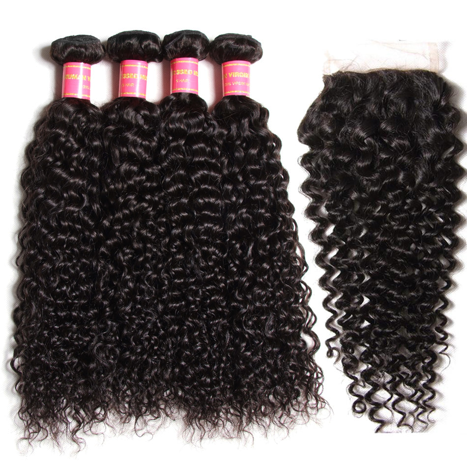 Donmily Hair Virgin Peruvian Curly Hair 4 Bundles with 4*4 Lace Closure on Sale
