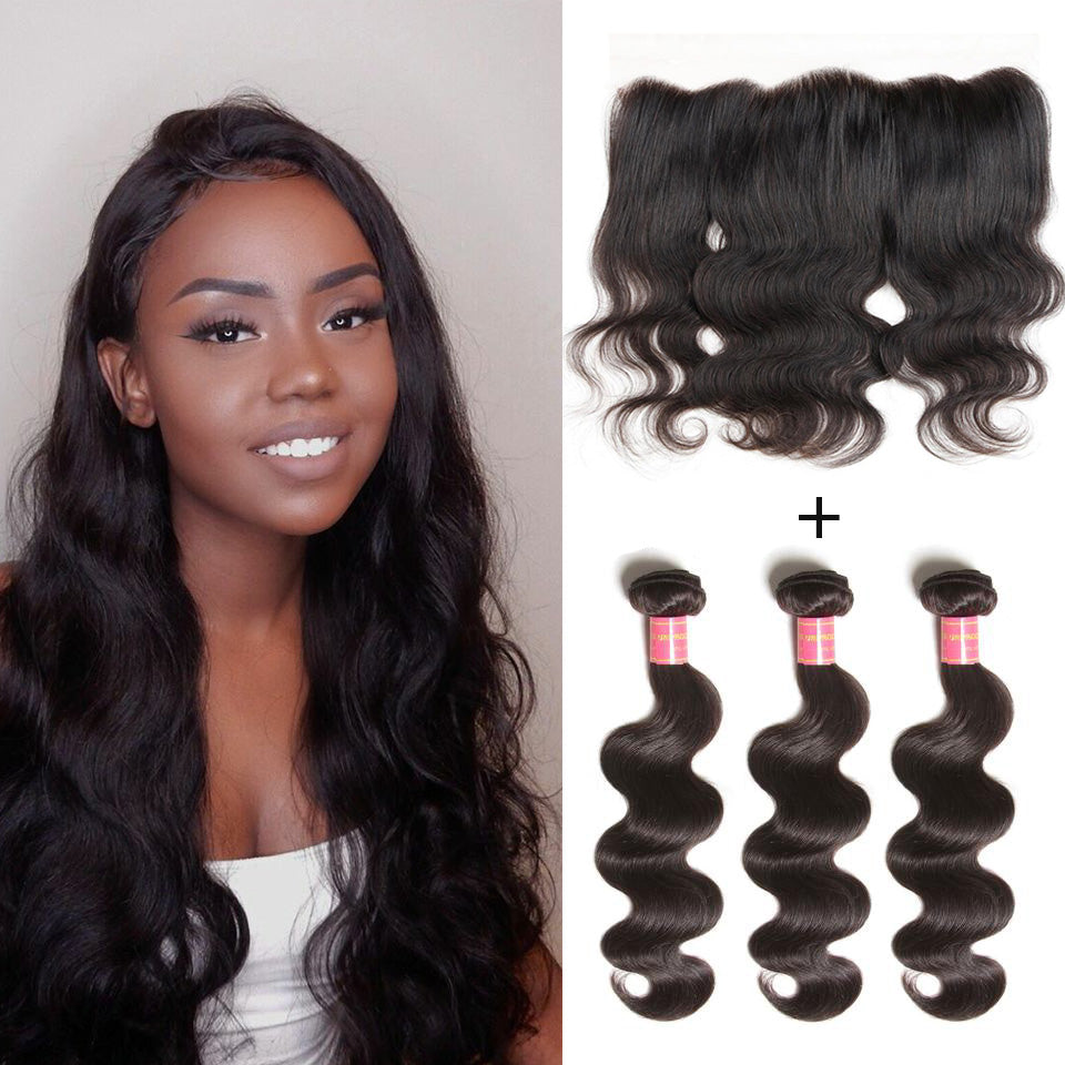 Donmily Virgin Brazilian Body Wave Hair Weave 3 Bundles with Lace Frontal Hair Closure 13*4 Ear to Ear