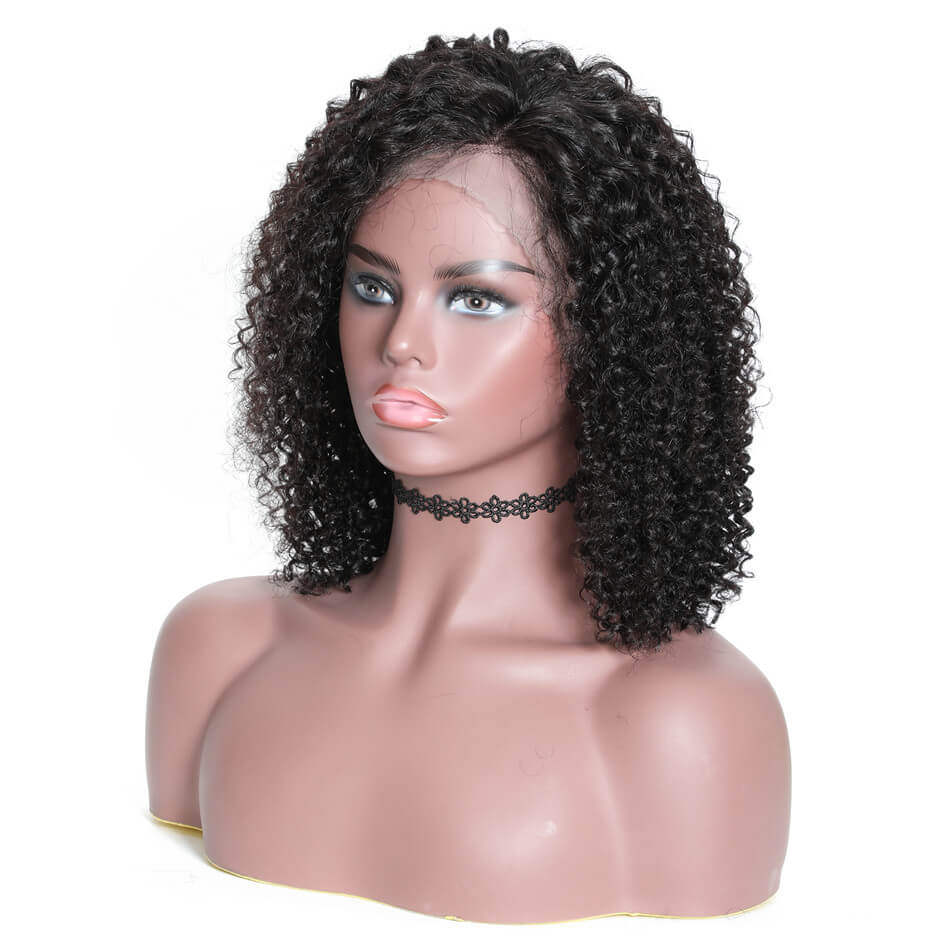 Jerry Curly Bob Human Hair Lace Front Wigs 130% & 150% &180% Density 13*4 Lace Front Wigs With Baby Hair, 8''-14'' Brazilian Curly Lace Front Wigs-Donmily
