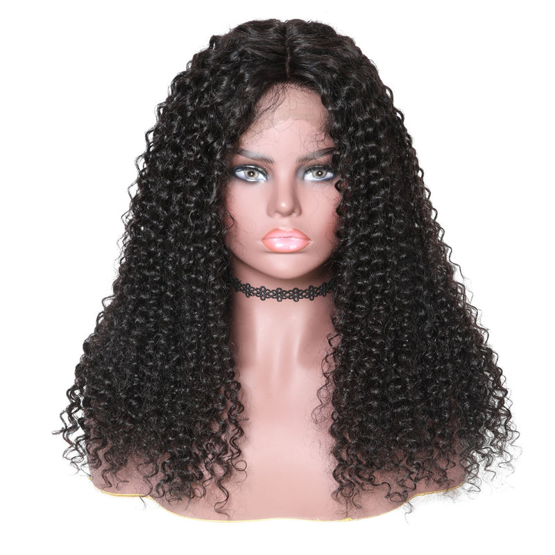 Donmily 13*6 Lace Front Wigs Jerry Curly 150% Density, Virgin Human Hair Wigs With Baby Hair 10''-24'' Black Color
