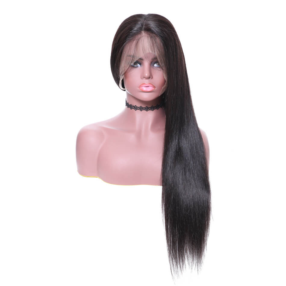 360 Lace Wig Silky Straight 150% & 180% Density Black Color, 100% Virgin Human Hair Wig 12-28 Inch-Donmily Hair